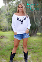 White OFF Shoulder long sleeve black deer skull top