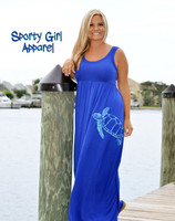 Royal Blue maxi sea turtle dress