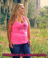 Plus Size Neon Pink Hog Hunting Burnout Tank