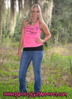 Gator Head Hunting Neon Pink and Orange Slit Back Tank Top