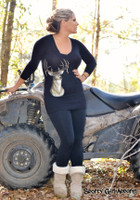 Deer Head V-neck Longer Length Long Sleeve