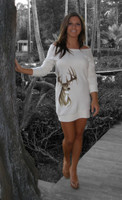 Cream Deer Sweater tunic /Dress