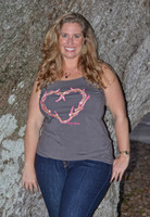 Gray Plus Size 4X-6X heart antler hunting tank top