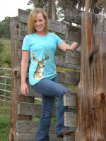 Teal Burnout Deer Head Shirt