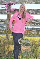 Pink Black velvet buck skull tunic sweater