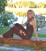Womens Brown lounge pants with neon orange Sporty Girl Glitter