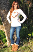 White thermal with orange outlined heart antler long sleeve