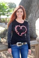 Black long sleeve  Antler Heart shirt 50% OFF