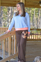 Juniors Brown lounge pants with neon orange Sporty Girl Glitter
