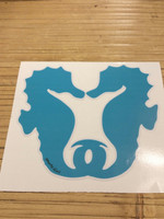 Larger Blue kissing seahorse decal