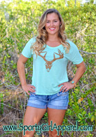 Women's Mint loose fitting deer skull t-shirt 35% OFF