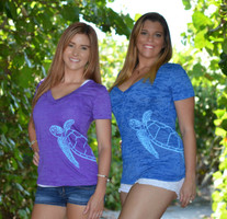 SeaTurtle burnout v neck shirts