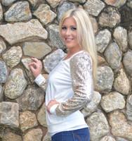 Gold glitter sleeve long sleeve holiday sweater