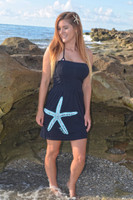 Shorter tunic style onesize black tube starfish dress