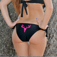 Copy of BOTTOM-BLACK SMALLER BUTT  bikini BOTTOM  with neon pink Deer Skull