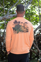 Mens tangerine orange snook sun shirt