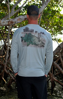 Mens gray  snook  fishing sun shirt