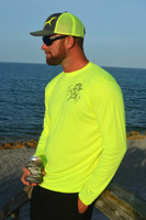 MENS Neon yellow mahi with ballyhoo fishing sun shirt