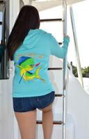Women's Dolphin Teal zip hoodie jacket