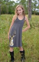 Kids youth onsize gray deer head dress