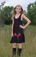 Kids youth onesize Brown with neon pink  deer skull dress
