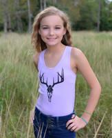 Kids youth onesize purple deer skull tank