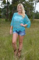 TEAL one size  Crochet top 40% OFF