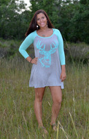 Women's Gray and mint longsleeve Buck head dress