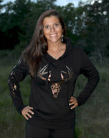 Dark Brown Glitter Buck Skull with tracks  black hoodie