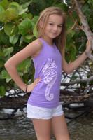 Purple seahorse oneszie tank top