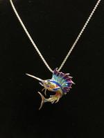 Sterling Silver sailfish multi color enamel Necklace