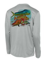Men's sunshirt with mixed fish and keys map