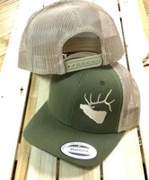 Mens Moss Green Elk head  mesh back snapback hat