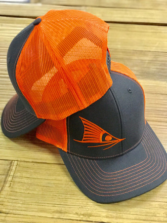 4c1252a98928e Red Fish Tail orange and black snap back hat - Sporty Girl Apparel