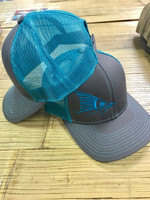 Teal and gray red fish tail hat