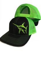 Mens Black and neon green Snapback mesh back Swordfish hat