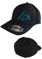 Solid Black flex fit  hat with blue hogfish