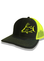 Hogfish charcoal gray and neon yellow  mesh and snapback