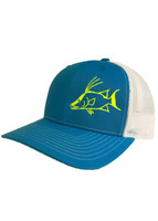 Bahama blue with white mesh snapback hat and neon yellow HOG FISH