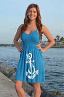one-size fits some spaghetti  adjustable strap blue  anchor dress