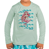 Toddler girls sunscreen UPF50+ mermaid with waves
