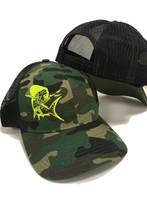 Snapback camo with Neon Yellow Mahi Mahi hat