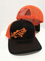 Black With Neon Orange  bass mens snapback hat