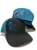 two toned blue and gray  with   Mahi Mahi mens snapback hat