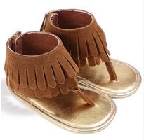 baby fringe tan sandals