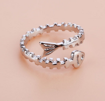 sterling silver fish bone adjustable ring