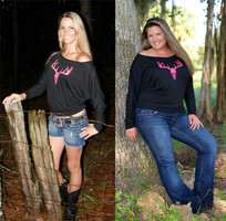Pink Deer Skull long sleeve off shoulder