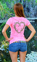 Neon Pink Fashionable Antler Heart Burnout Shirt