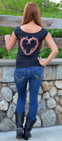 Sexy black Stylish reversible antler heart top