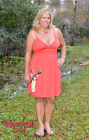 Orange women's DEER spaghetti strap dress
